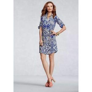 CAbi #422 Jewel Dress Blue Geo Print Button Tunic